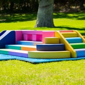 This is an image of the Balance Bridge set up on a sunny day outdoors on very green grass