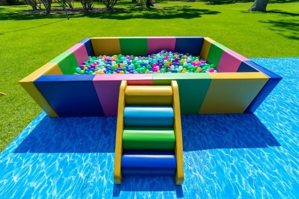 This is an image of the exclusive ball pit with colourful steps in the foreground